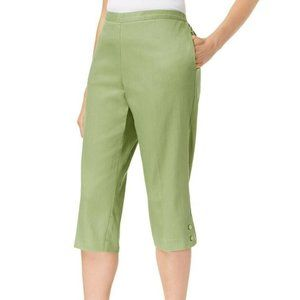16P Alfred Dunner Capris Cropped Pants Sage Green